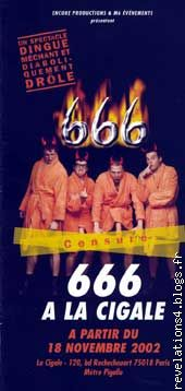 "affiche spectacle "" 666 "" à la Cigale"