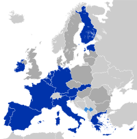 les 17 nations de la zone Euro en bleu
